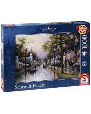 Puzzle Schmidt de 1000 piese - Dimineata in orasul natal, Thomas Kinkade