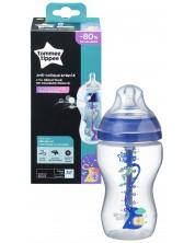Biberon Tommee Tippee Advanced Anti-Colic - 340 ml, cu tetina 2 picaturi, Flux mediu, albastru -1