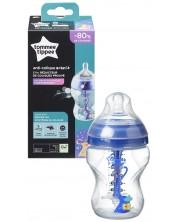 Biberon Tommee Tippee Advanced Anti-Colic - 260 ml, cu tetina 1 picatura, Flux lent, albastru -1