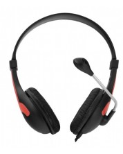 Casti cu microfon Esperanza - Rooster EH158R, negru/rosu