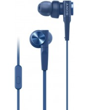 Casti cu microfon Sony - MDR-XB55AP, albastre -1