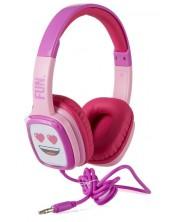 Casti cu microfon Emoji - Flip n Switch, roz/mov