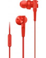 Casti cu microfon Sony - MDR-XB55AP, rosii -1