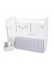 Set 2 piese lenjerie de pat pentru patut bebe Kikka Boo Little Angel Clouds - EU style, cu broderie, 70 х 140 cm -1