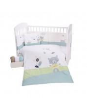 Set 6 piese lenjerie de pat pentru patut bebe Kikka Boo Lovely Day Cat - 60 x 120 cm -1