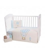 Set 5 piese lenjerie de pat pentru patut bebe Kikka Boo Puppy on Balloon -1