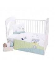 Set 3 piese lenjerie de pat pentru patut bebe  Kikka Boo Lovely Day Cat - 70 x 140 cm -1