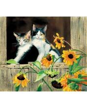 Puzzle SunsOut de 550 piese - Susan Bourdet, Kittens and Sunflowers