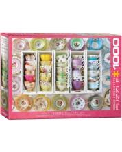 Puzzle Eurographics de 1000 piese - Cesti colorate pentru ceai, Alison Henley