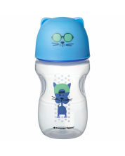 Sticla de tranzitie cu varf moale din silicon si maner Tommee Tippee - Pisica, 300 ml, 1an+, albastra -1