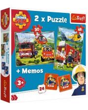 Set puzzle si joc  memo Trefl 2 in 1  - Fireman Sam, Pompieri in actiune