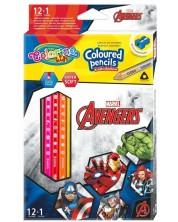 Creioane colorate triunghiulare Colorino Marvel Avengers 12 culori + 1 (cu ascutitoare)