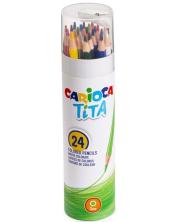 Creioane colorate Carioca Tita - 24 culori + ascutitoare -1