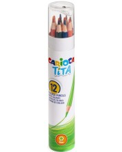 Creioane colorate Carioca Tita - 12 culori + ascutitoare -1