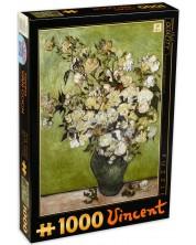 Puzzle D-Toys de 1000 piese - Trandafiri rozi in vaza, Vincent van Gogh