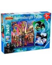 Puzzle Ravensburger din 3 de cate 49 piese - Cum sa iti dresezi dragonul