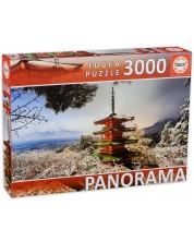 Puzzle panoramic Educa - de 3000 de piese - Muntele Fuji si Pagoda Chureito, Japonia