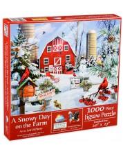 Puzzle SunsOut de 1000 piese - O zi cu zapada la ferma, Lori Schory