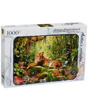 Puzzle Step Puzzle de 1000 piese - Tigru in jungla, Adrian Chesterman