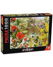 Puzzle Anatolian de 1000 piese - Paun in gradina, Barbara Behr