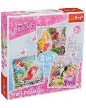 Puzzle Trefl 3 in 1 - Rapunze, Aurora si Ariel