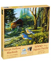 Puzzle SunsOut de 1000 piese - Pasari albastre in Sleepy Hollow, Terry Doughty