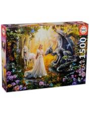 Puzzle Educa de 1500 piese - Dragon, printesa si unicorn