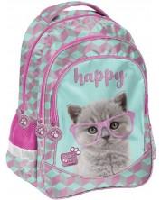 Ghiozdan scolar Paso Studio Pets - Happy, cu 3 compartimente