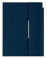 Caiet din piele cu capac magnetic Velvet А5 - Albastru-inchis