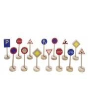 Accesorii din lemn pentru joc Goki - Indicatoare rutiere, set -1