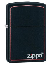 Bricheta  Zippo Black Matte, neagra cu margine rosie -1