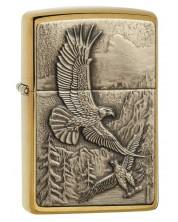 Bricheta Zippo Brushed Brass, vulturi zburand -1