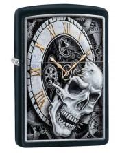 Bricheta Zippo Black Matte, ceas cu craniu -1