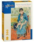 Puzzle Pomegranate de 500 piese - Mama si copil, Pierre Renoir - 1t