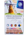 Creioane din lemn de cedru Astra Prestige - 12 culori, in cutie metalica - 1t