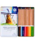 Creioane din lemn de cedru Astra Prestige - 12 culori, in cutie metalica - 2t