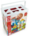 Cuburi din lemn in cutie sortatoare Hape - 101 piese - 1t