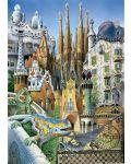 Puzzle Educa de 1000 piese mini - Colaj, cladirile lui Gaudi, miniatura - 2t