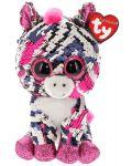 Jucarie de plus cu paiete TY Toys Flippables - Zebra Zoey, 15 cm - 1t