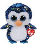 Jucarie de plus cu paiete TY Toys Flippables - Pinguin Payton, 15 cm - 1t