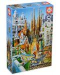 Puzzle Educa de 1000 piese mini - Colaj, cladirile lui Gaudi, miniatura - 1t